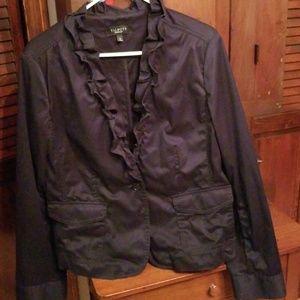 Size 16 Dark Navy Ruffled Blazer